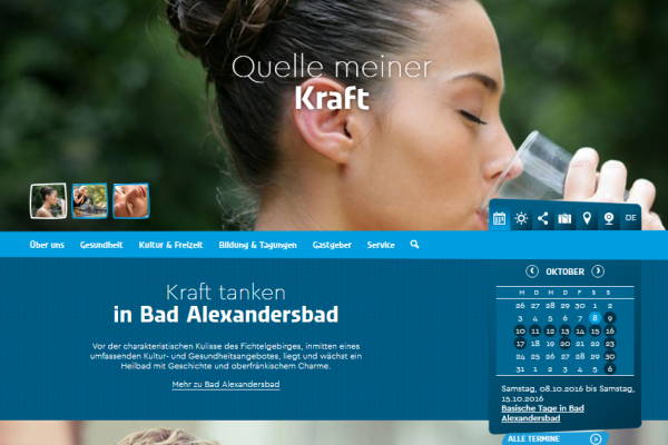 Website Bad Alexandersbad - Screenshot Startseite