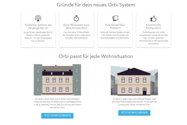 Netgear Website zum Orbi-System - Screenshot Landingpage Content