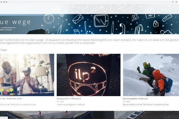 Screenshot aktuelles - Website für ilp² Ingenieure