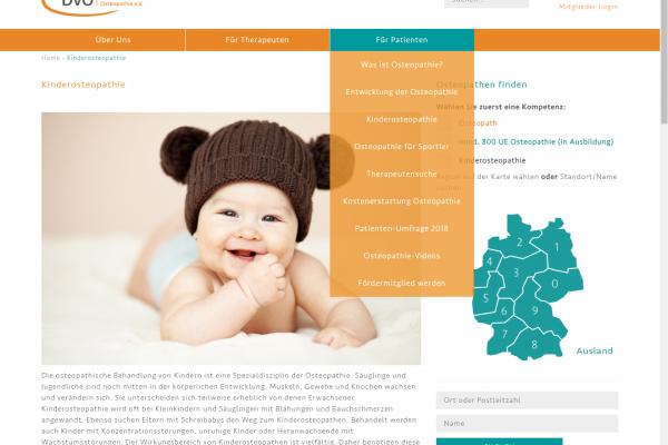 Website BVO - Screenshot Content Menü