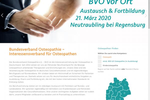Website BVO - Screenshot Therapeutenfinder