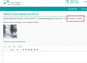 LMS für Fachseminare von Fürstenberg - Screenshot Forum