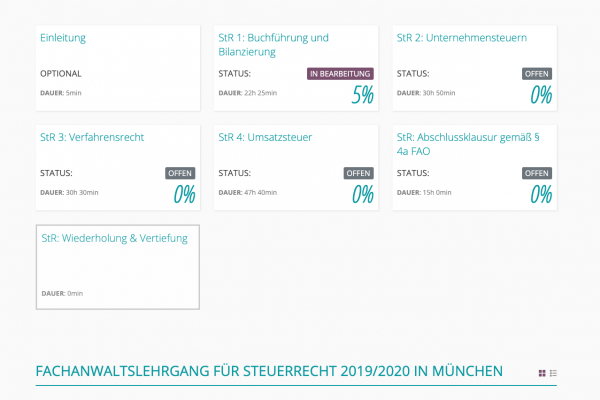 LMS für Fachseminare von Fürstenberg - Screenshot Termine
