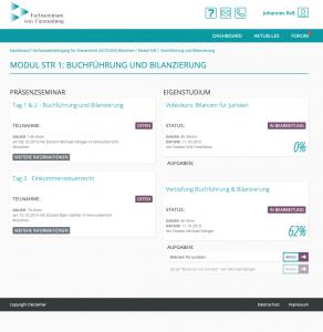 LMS für Fachseminare von Fürstenberg - Screenshot Dashboard