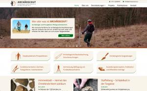 Archäoscout Website - Screenshot Startseite