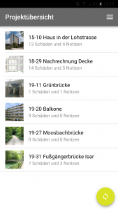 Screenshot monitorING App Projektübersicht