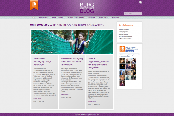 Blog Burg Schwaneck - Screenshot Website