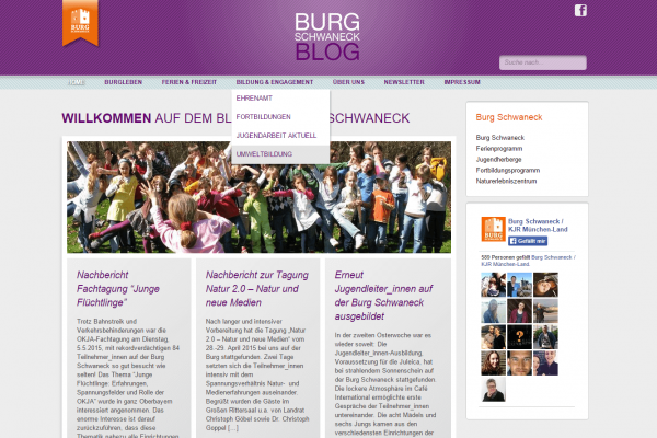 Blog Burg Schwaneck - Screenshot Website Menü