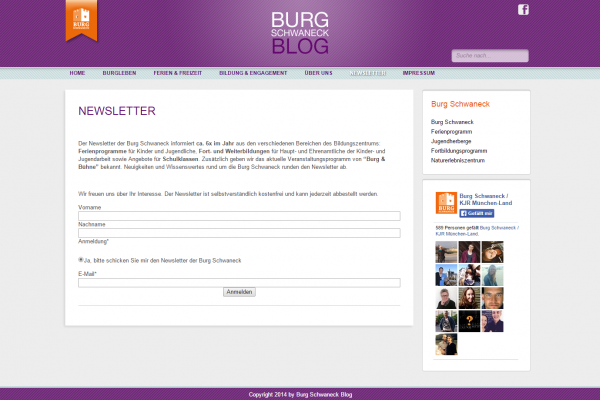 Blog Burg Schwaneck - Screenshot Newsletteranmeldung
