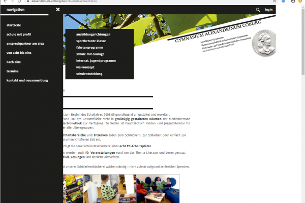 Website Gymnasium Alexandrinum Coburg - Screenshot Navigation