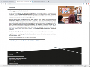 Website Gymnasium Alexandrinum Coburg - Screenshot Inhalt