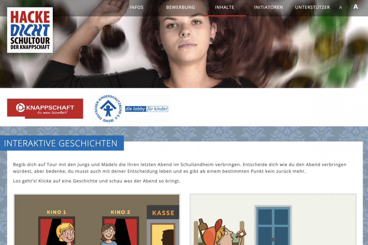 Knappschaft Hackedicht Scrollytelling - Sreenshot Website