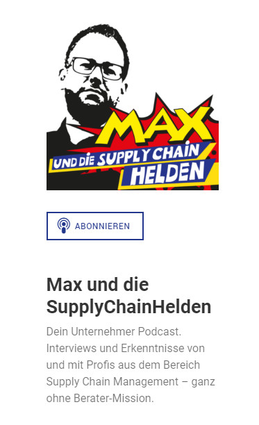Screenshot - Website zum Podcast Max und die SupplyChainHelden
