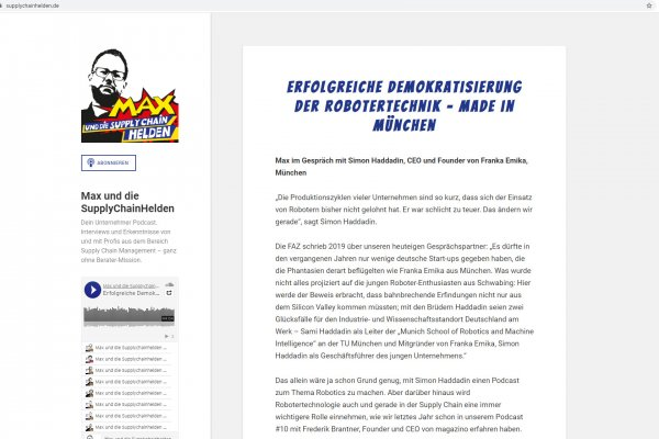 Screenshot Transkript zum Podcast Max und die SupplyChainHelden