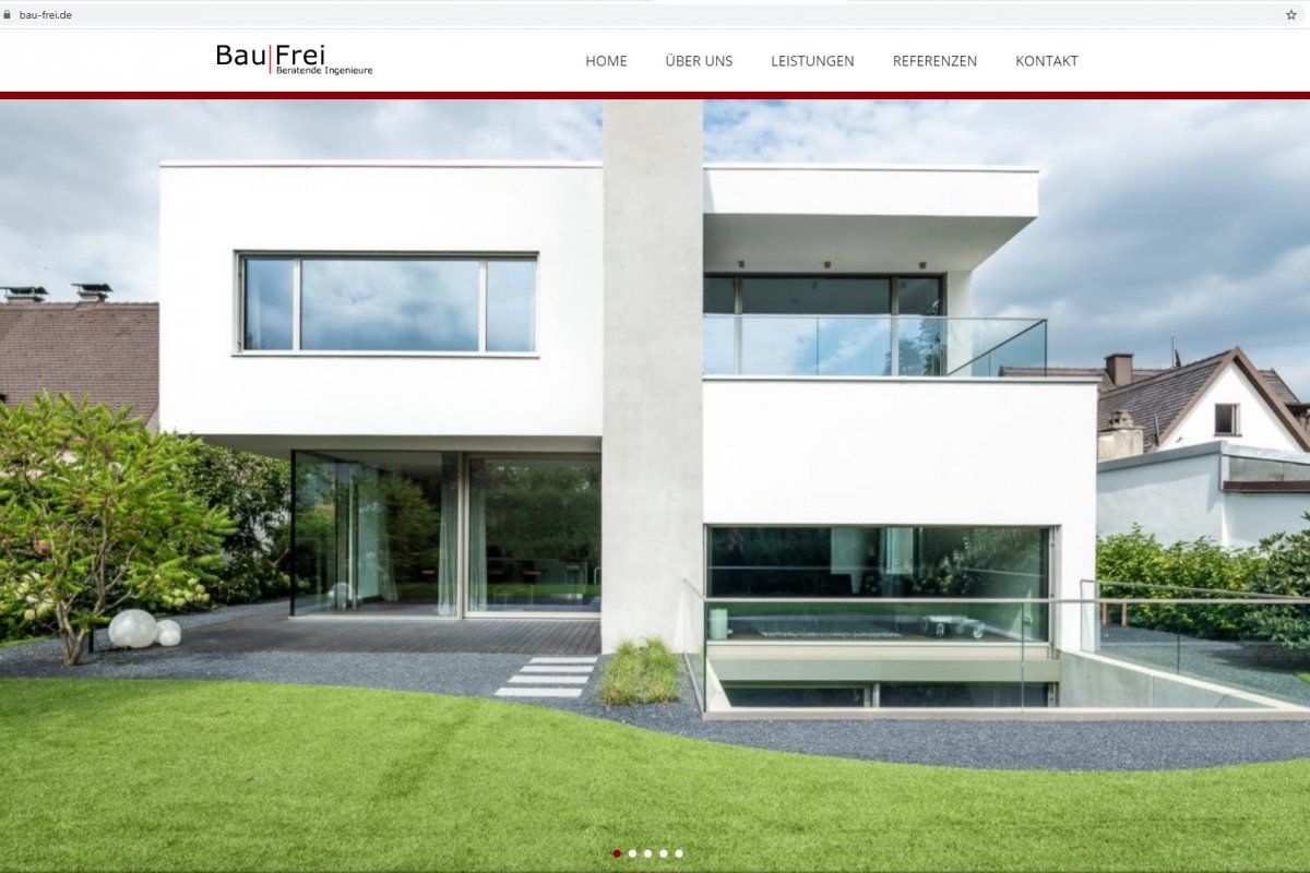 Screenshot Website Bau|Frei Startseite