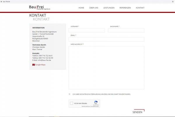 Screenshot Website Bau|Frei Kontaktformular