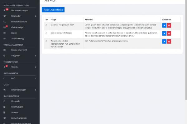 Vereinsverwaltungssoftware für den BVO - Screenshot FAQ Bereich