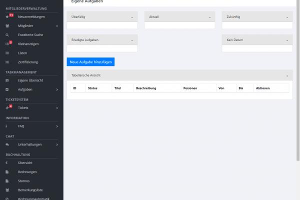 Vereinsverwaltungssoftware für den BVO - Screenshot Aufgabenbereich