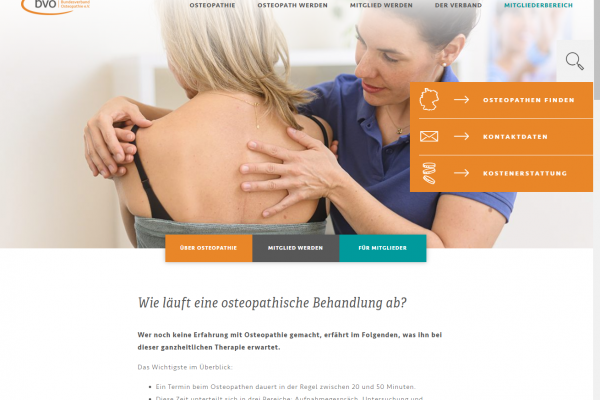 Website für BVO – Screenshot Inhalt