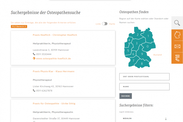 Website für BVO – Screenshot Therapeutensuche