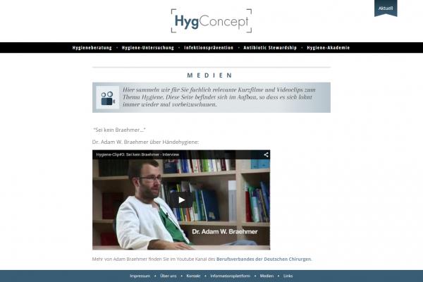 Website HygConcept - Screenshot Medien