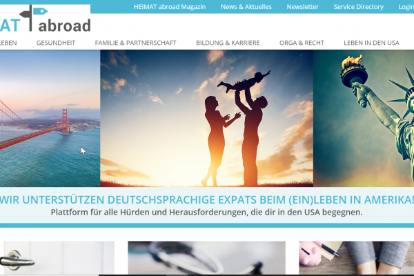 Website Heimatabroad - Screenshot Startseite