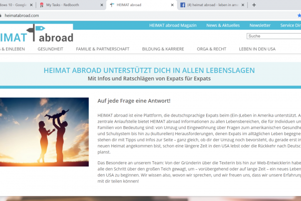 Website Heimatabroad - Screenshot Content