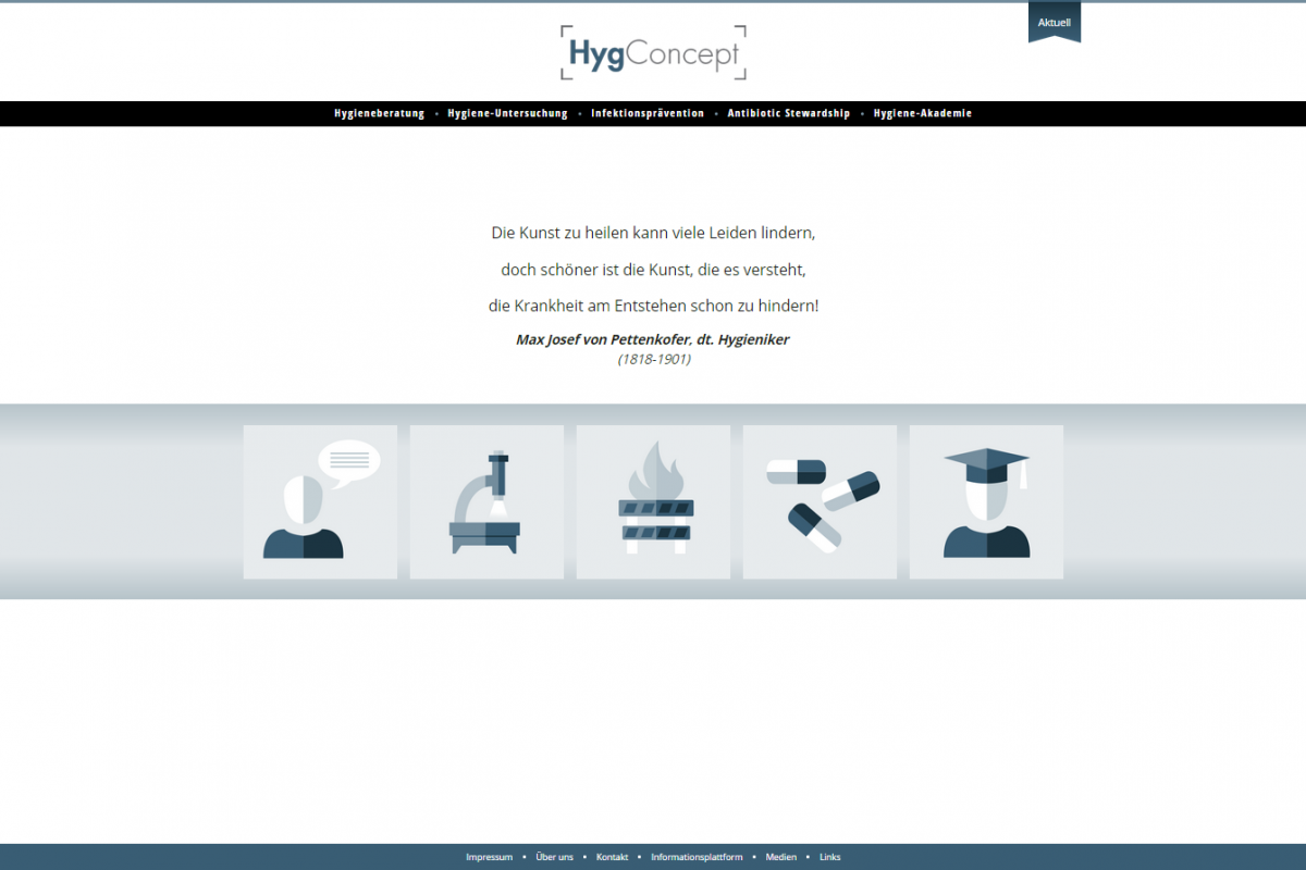 Website HygConcept - Screenshot Startseite