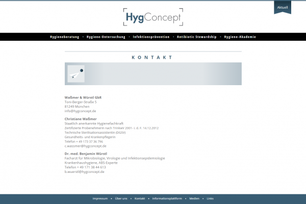 Website HygConcept - Screenshot Kontakt