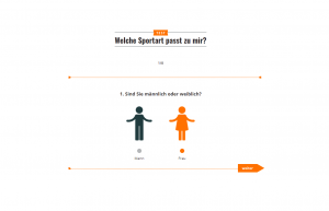 Screenshot Onlinetest zur Sportartenwahl - Single Choice Aufgabe