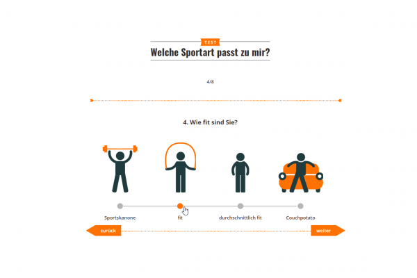 Screenshot Onlinetest zur Sportartenwahl - Single Choice Aufgabe