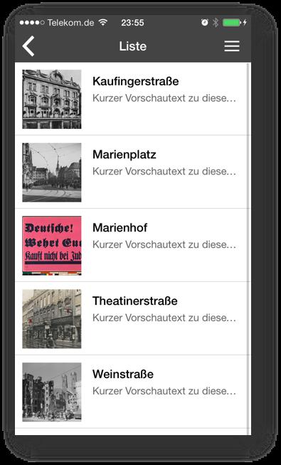 Screenshot - App für Landauer Walk - Liste