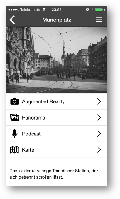 Screenshot - App für Landauer Walk - Funktionen
