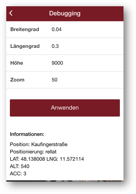Screenshot - App für Landauer Walk - Debugging