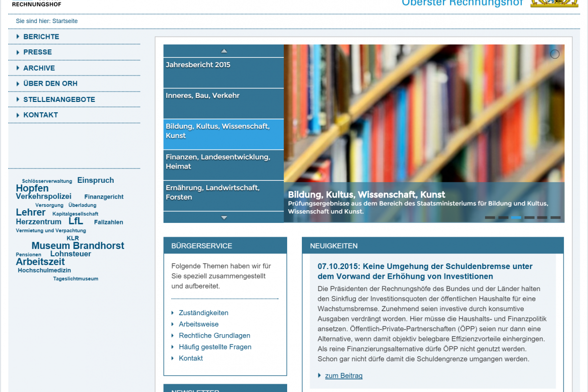 Website ORH - Screenshot Menü