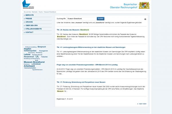 Website ORH - Screenshot Suchfunktion