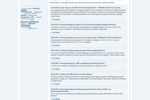 Website ORH - Screenshot Medieninformationen