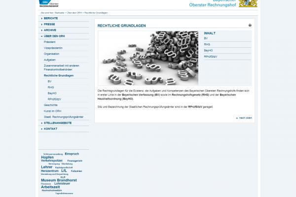 Website ORH - Screenshot Inhalt