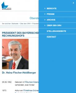 Website ORH - Screenshot Menü responsive