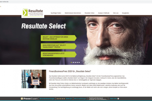 Website Resultate Institut